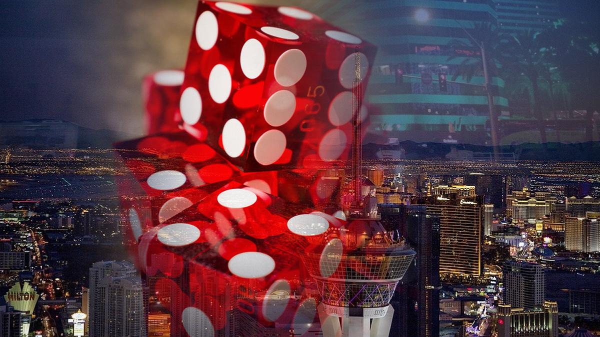 Red Casino Dice Dengan Latar Belakang Las Vegas
