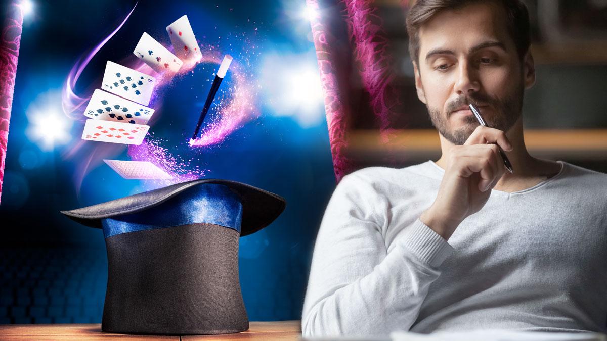 Man Contemplating dan Topi dan Kartu Tongkat Sihir